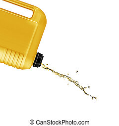 opened plastic gallon, jerry can with splash isolated on a white background. (with clipping work path)