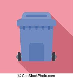 Plastic garbage box icon, flat style