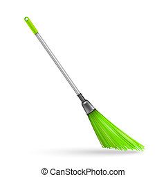 Plastic garden broom. Vector illustration