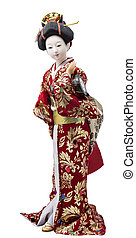 Plastic geisha doll, isolated on a white background.