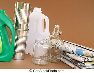 plastic, glass, aluminum and paper for recycling