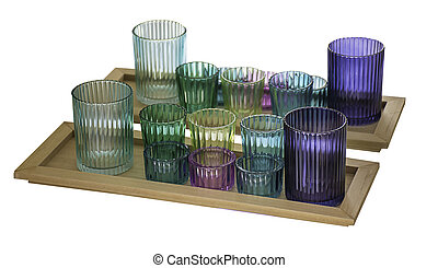 Plastic glass of colorful in wooden tray on a white background with clipping path.