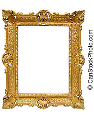 Plastic Golden Picture Frame with Clipping Path