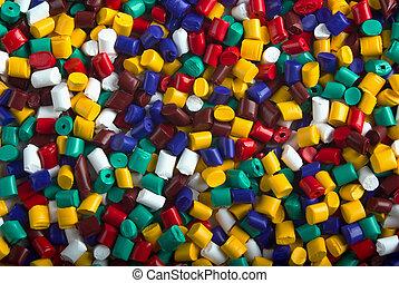 Plastic granules - Colorful industrial plastic granules...