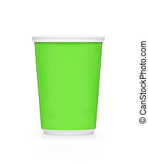 Plastic green coffee cup on white background