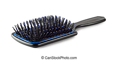 Plastic hair brush isolated on white background