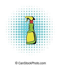 Plastic hand spray bottle icon, comics style