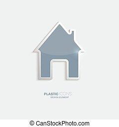 Plastic icon house symbol.