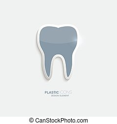 Plastic icon tooth symbol. Sky blue color. Creative element...