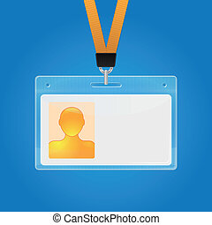 Plastic ID badge. Identification card icon. Vector illustration
