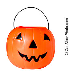 Jack o lantern - Plastic Jack o lantern isolated on white