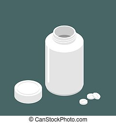 Plastic jar open lid for tablets and pills. Container for medicines. Medical Pharmaceutical Illustration