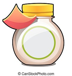 Plastic jar with a blank label isolated on white background. Vector cartoon close-up illustration.