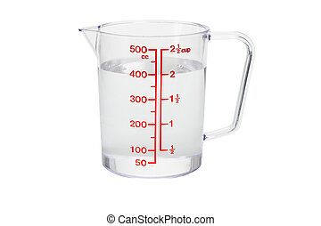 Plastic kitchen measuring cup filled with 400 cc of water on white background