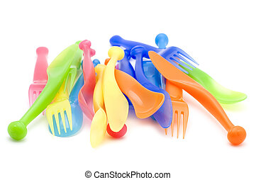 Plastic kitchen utensil - object on white - kitchen utensil...