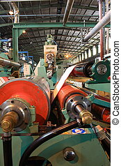 plastic lamination machine and its rollers in large factory