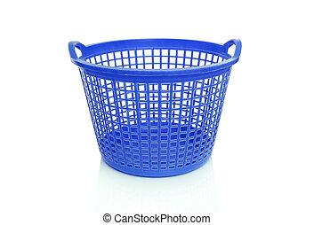 Plastic laundry basket. Isolated on white background.