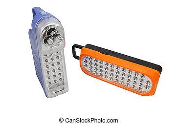 plastic led flashlights on white