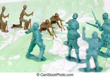 plastic, leger, man vechtende, op, topografische kaart, het...