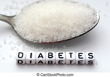 """Plastic letter beads spelling the word """"diabetes"""" in a spoon full of sugar"""