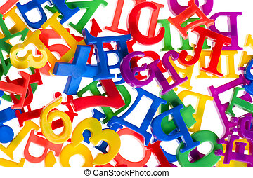 plastic letters and numbers close up