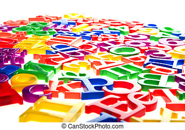 plastic letters and numbers isolated macro