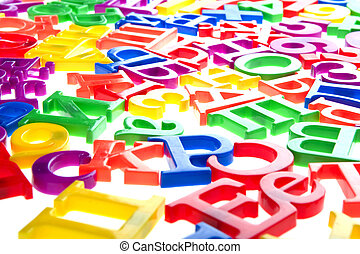 plastic letters and numbers isolated