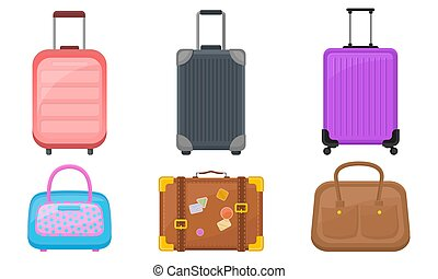 Plastic Luggage And Handbags Vector Illustrated Set