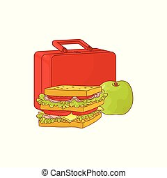 Plastic lunchbox with sandwich and apple for school or work break isolated on white background.