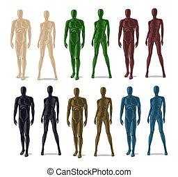 Plastic mannequins set