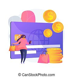 Plastic money abstract concept vector illustration.