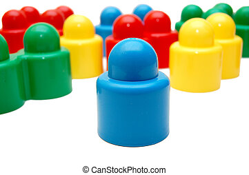 Plastic multi-coloured geometrical figures on a white background