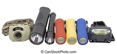 plastic multicolored led flashlights on a white background