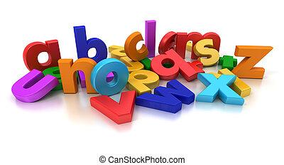 Alphabet - Plastic multicoloured Alphabet on a neutral...