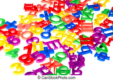 plastic numbers and letters close up