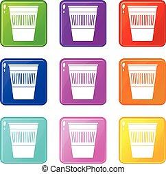 Plastic office waste bin icons 9 set