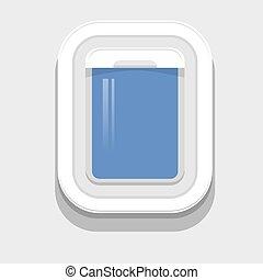 Plastic Open Plane Window on Grey Background