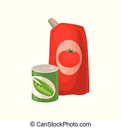 Plastic pack of tomato ketchup and tin can of green pea. Supermarket products. Flat vector elements for promo banner of grocery store