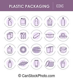 Plastic packaging containers line vector icons bottles,...