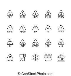 Plastic packaging line icons. Waste recycling symbols polyethylene, pvc, pet package. Vector signs of food container suitable for freezing, microwave, dishwasher. Pixel perfect 64x64 Editable Strokes