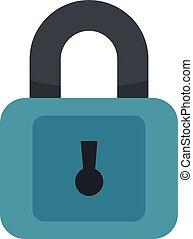Plastic padlock icon, flat style