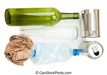 Plastic paper glass and metallic recyclable waste on white...