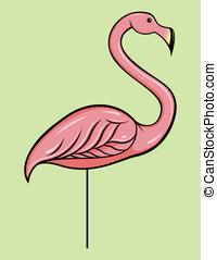 Plastic Pink Flamingo - This is a vector illustration of a...