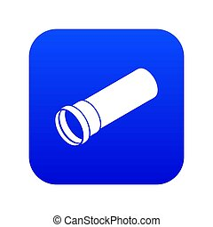 Plastic pipe icon blue isolated on white background