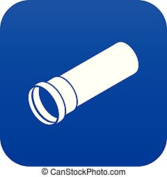 Plastic pipe icon blue vector isolated on white background