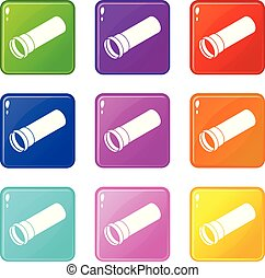 Plastic pipe icons set 9 color collection isolated on white...