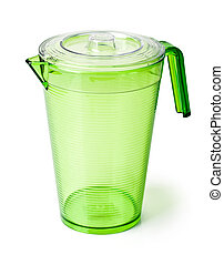 plastic pitcher on white background