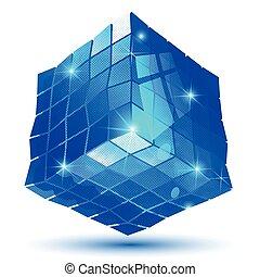 Plastic pixilated glossy 3d cybernetic model, reflective...
