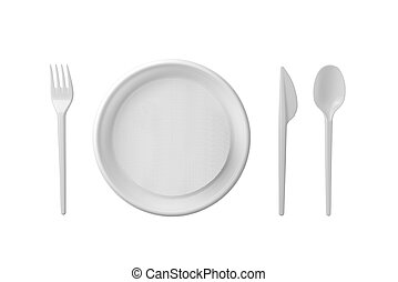 Plastic plate, spoon, fork and knife isolated on white background.