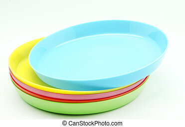 Plastic plates of various colors